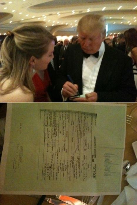 Trump Autographs Obama's Birth Certificate