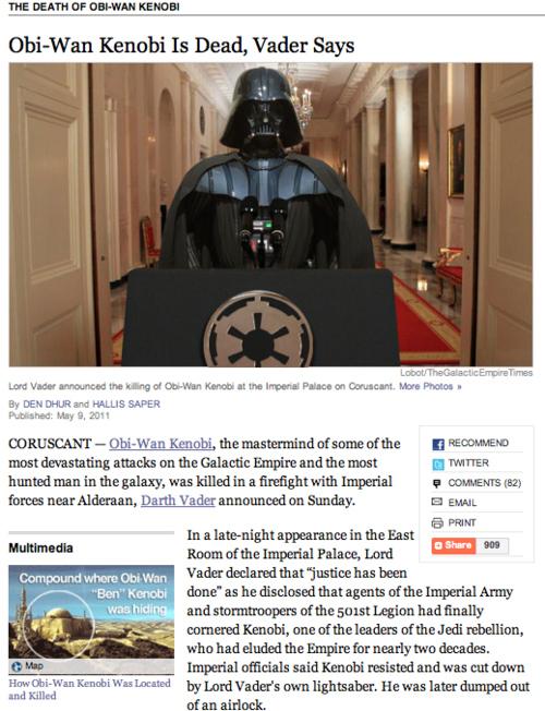 Obi-Wan Kenobi Is Dead, Vader Says