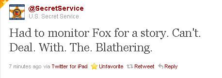 Secret Service Tweets Disdain For Fox