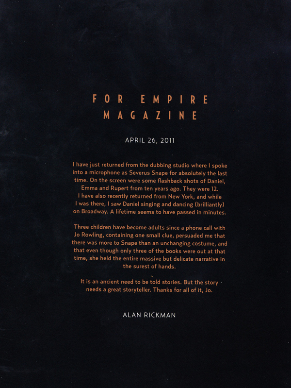 Alan Rickman's Good-Bye Letter To Harry Potter
