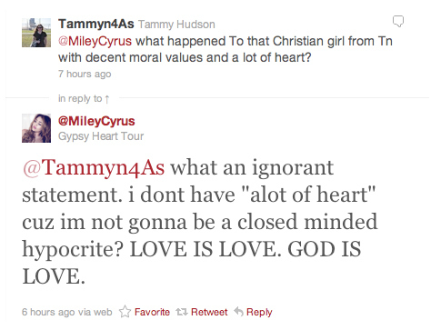 Miley Cyrus Responds To Gay Marriage Hater
