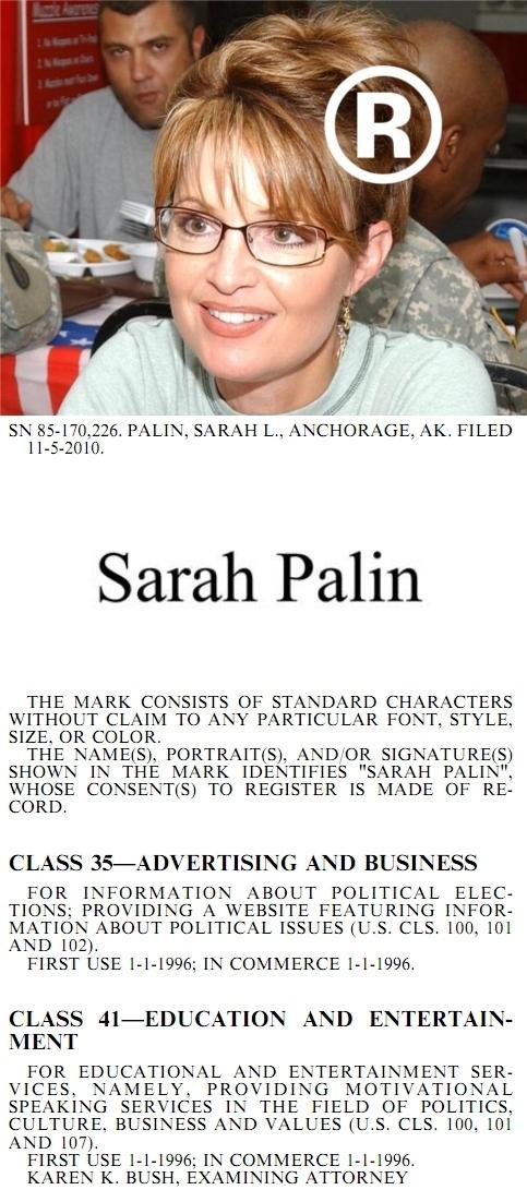 Sarah Palin® Trademark Approved