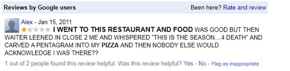 A Very Informative Pizzeria Review