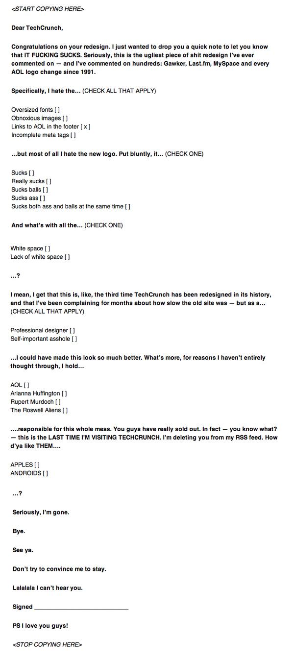 TechCrunch Redesign Hate Mail...