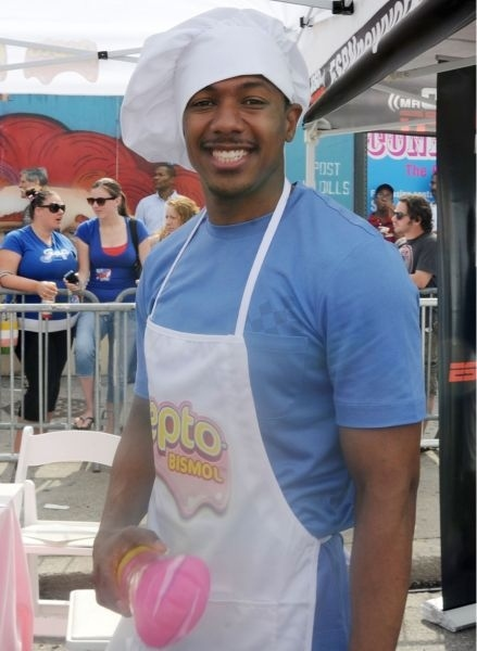 "Nick Cannon ""Wild 'n Out"" In A Pepto Bismol Apron And Chef's Hat"