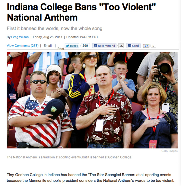 Indiana College Bans The National Anthem For Being Too Violent