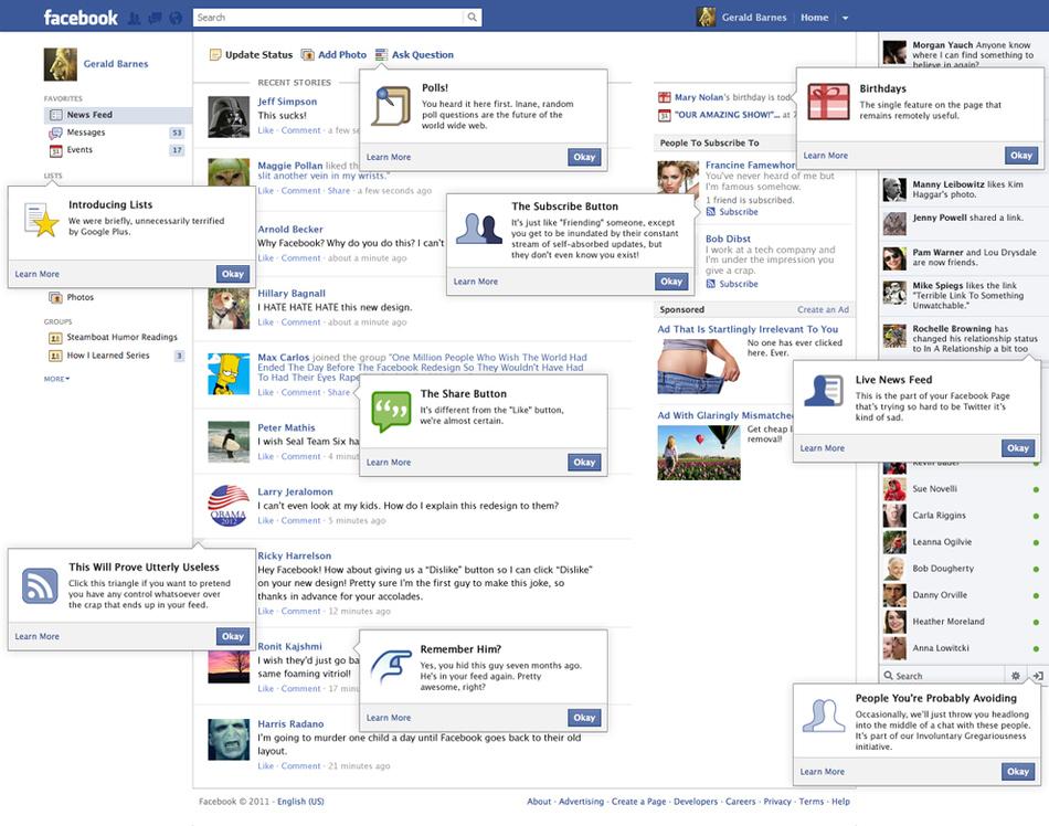 Honest Translation Of  New Facebook Changes