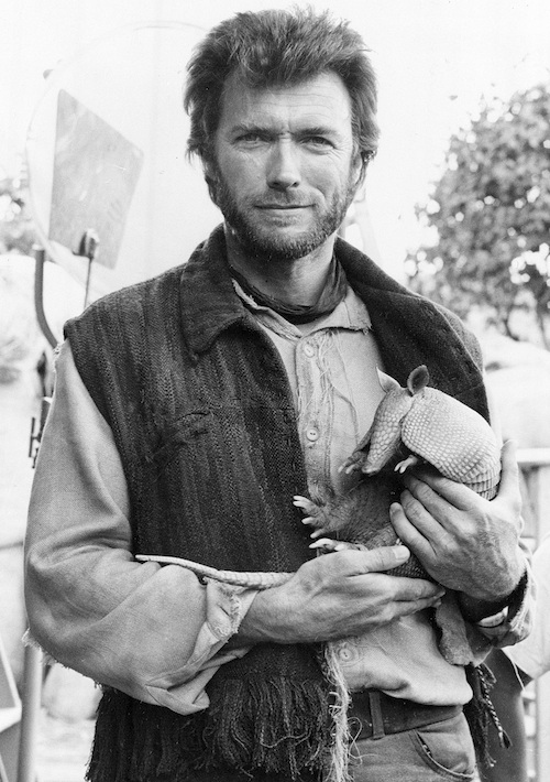 Clint Eastwood Holding A Baby Armadillo