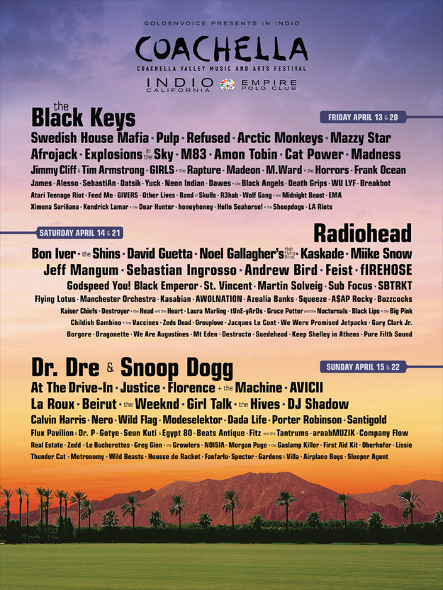 2012 Coachella Lineup Announced