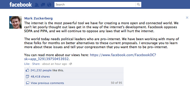 Mark Zuckerberg Comes Out Publicly Against SOPA