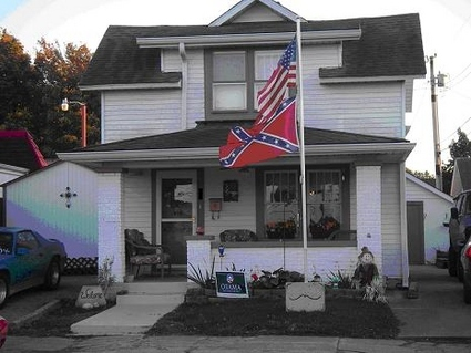 Obama Yard Sign + Confederate Flag