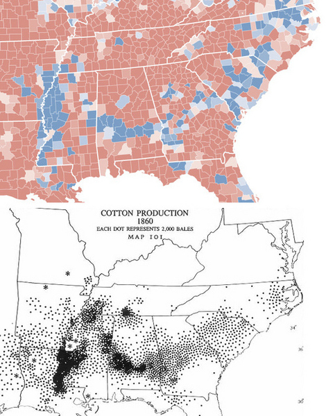 Election Map 2008 Vs. Cotton Farming Ca. 1860