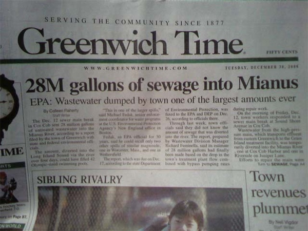 28M Gallons of Sweage Into Mianus: Greenwich Time Headline