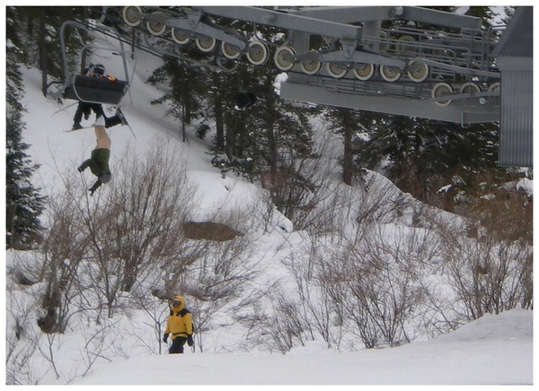 Pantsless Skier Dangles From Chairlift