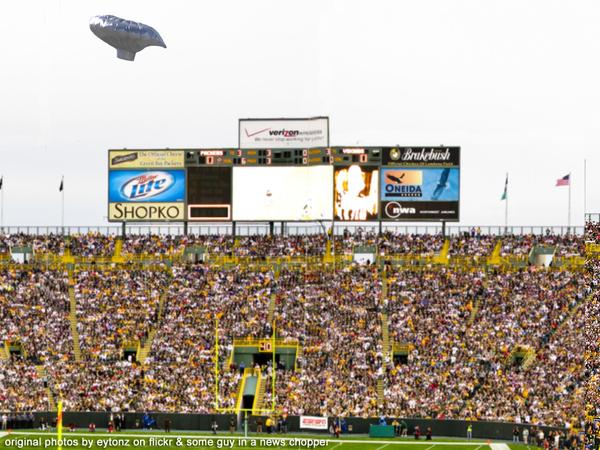 Balloon Boy Fly Over at Lambeau Field