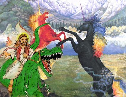 Raptor Jesus battles the Unicorns!