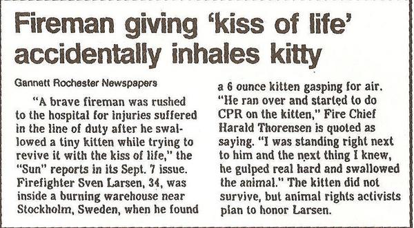 Fireman Accidentally Inhales Kitten