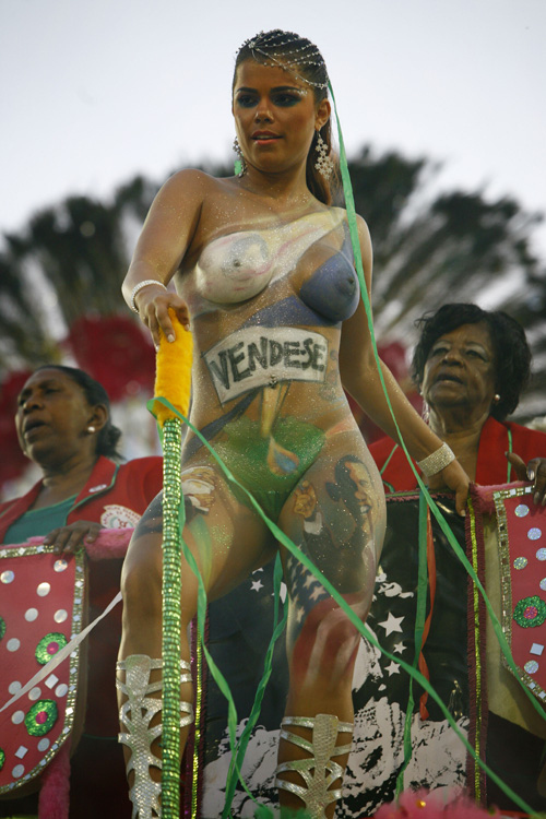 Nude Brazilian Carnival Queen's Painted Image of Obama! (NSFW)