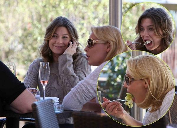 Ellen Pompeo And Katherine Heigl Caught With Mouths Wide Open
