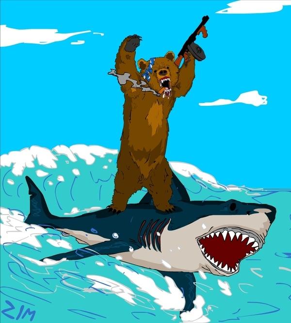 Bear Surfing a Shark!!!