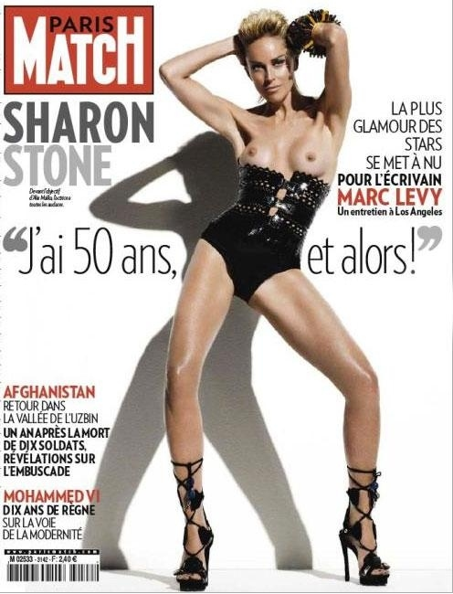 "Sharon Stone : Topless On ""paris Match"" Magazine Cover"