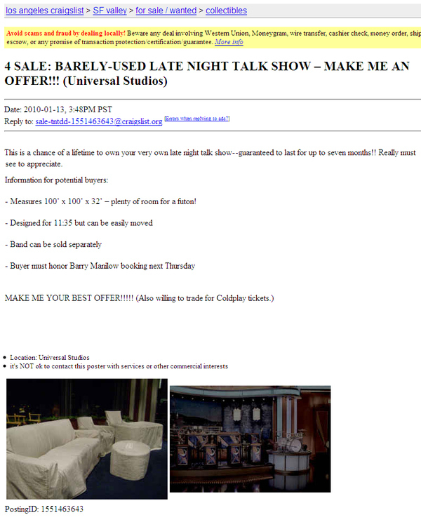 4 SALE: BARELY-USED LATE NIGHT TALK SHOW