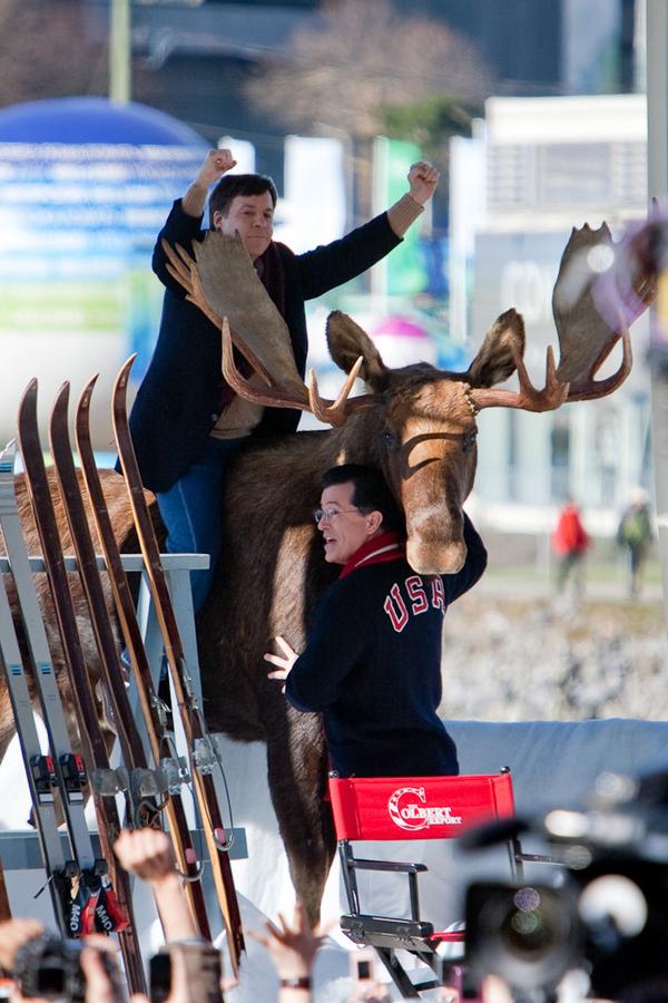 Stephen Colbert Helps Bob Costas Mount A Moose