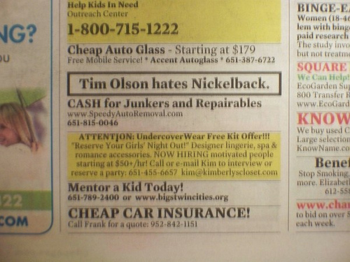 Tim Olson Hates Nickelback