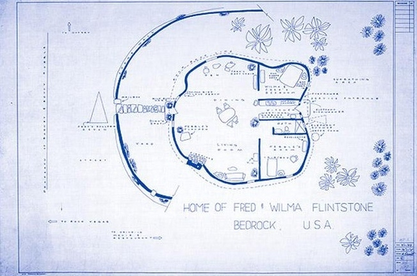 Blueprint of the Flinstone House