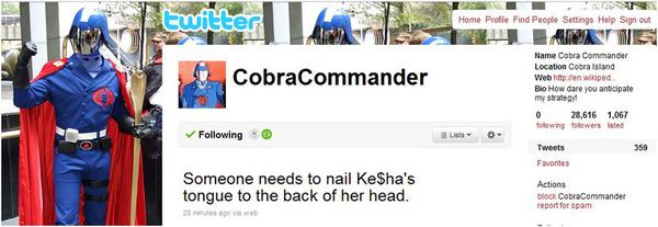 Cobra Commander Hates Ke$ha