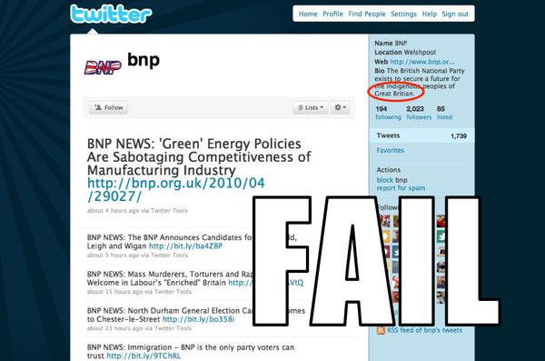 BNP Twitter FAIL