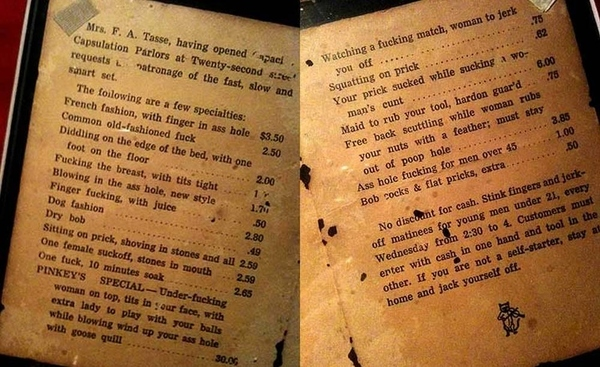 Ye Olde Sex Menu