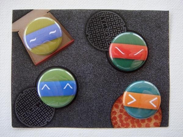 TMNT Ascii Face Buttons