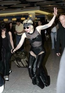 Lady GaGa Falls at Heathrow Airport in London