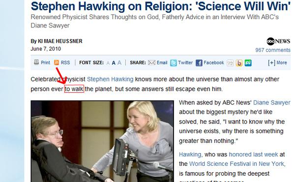 Accidental (?) Stephen Hawking  Pun