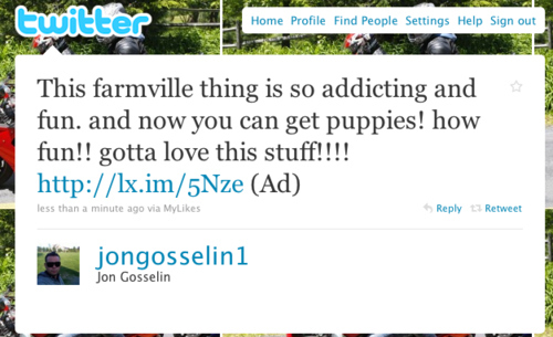 Jon Gosselin Advertises Farmville On Twitter