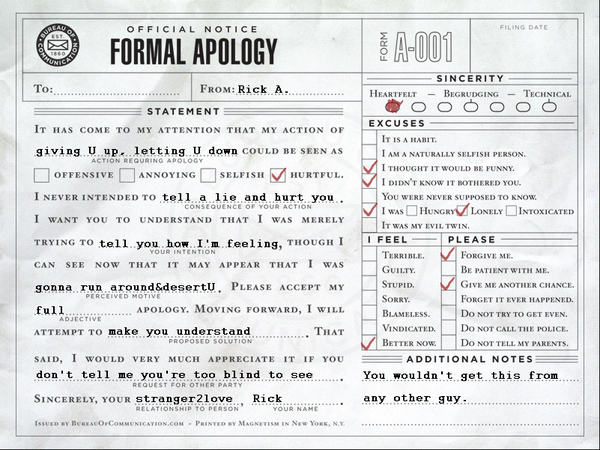 Proper Use of the Apology Slip