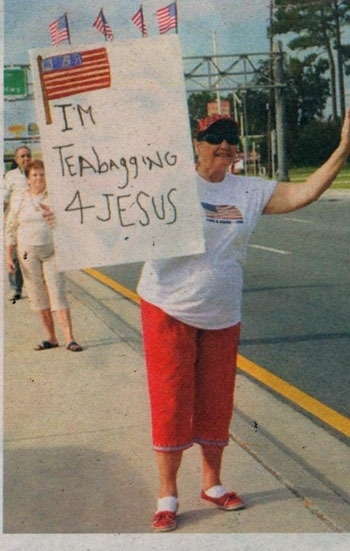 Protestors Now Teabagging for Jesus