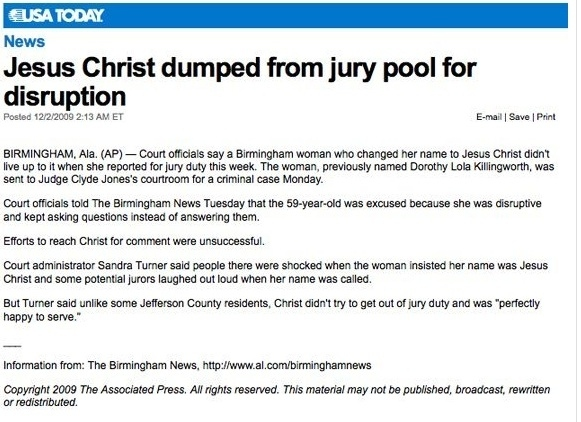 Jesus Christ Excused From Jury
