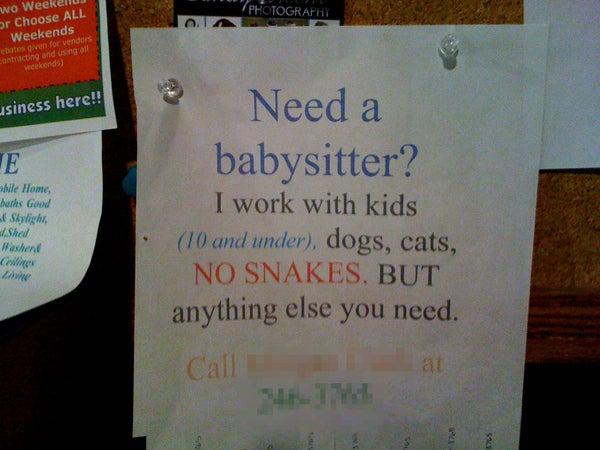 need a babysitter