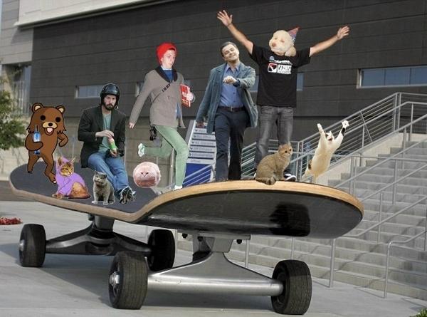 Memes On a Giant Skateboard