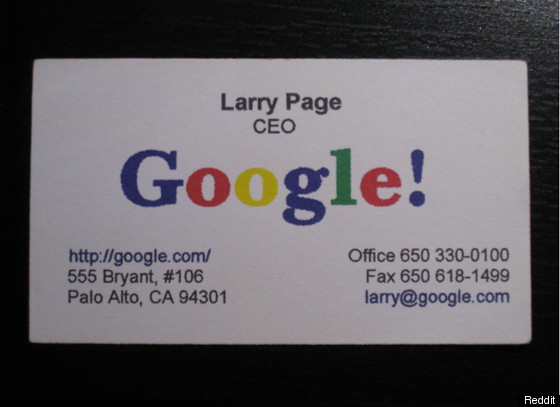 Larry Page's Business Card Circa 1998