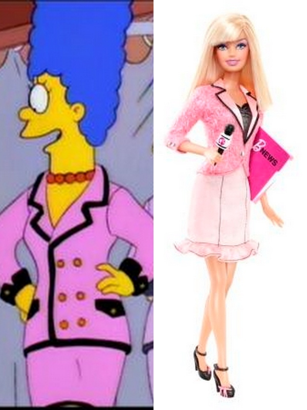 News Anchor Barbie Wears Marge Simpson's Cast-offs