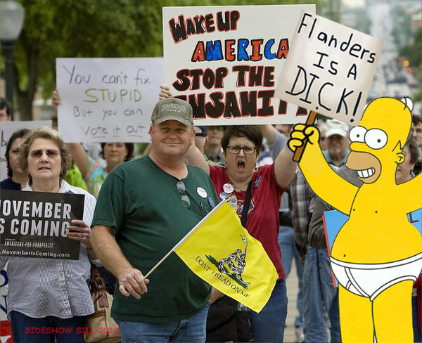 HOMER SIMPSON AT TEA PARTY RALLY
