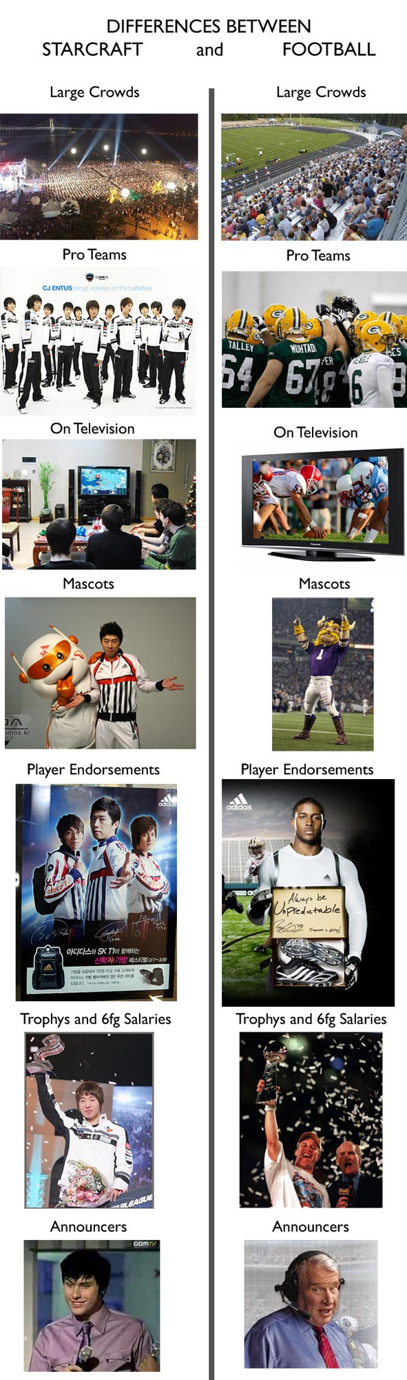 Differences Between Starcraft and Pro Football