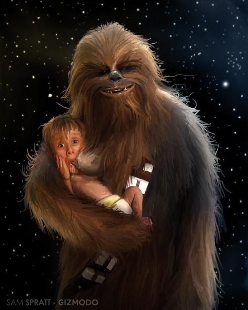 Chewbacca Breast-feeding Macaulay Culkin... in Space.