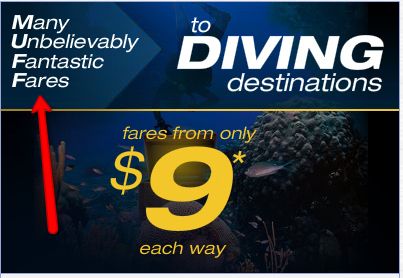Spirit Air's Subtle Diving Destinations Ad