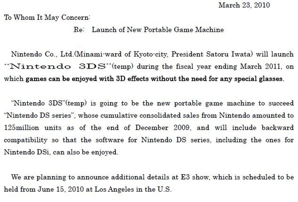 Nintendo 3DS: DS Successor With Glasses-free 3D, Coming March 2011!