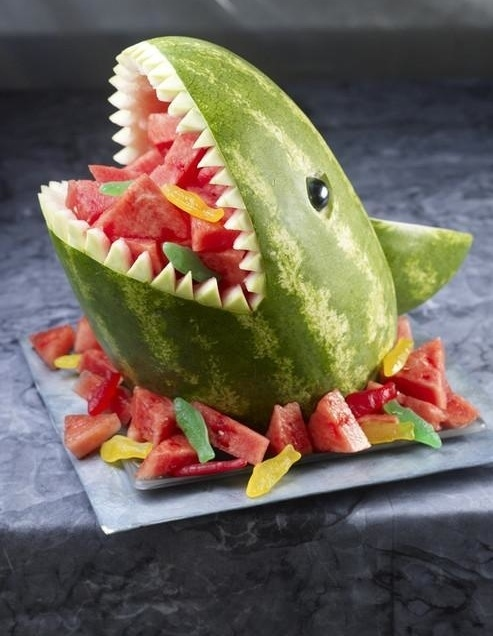 Shark Carved Watermelon