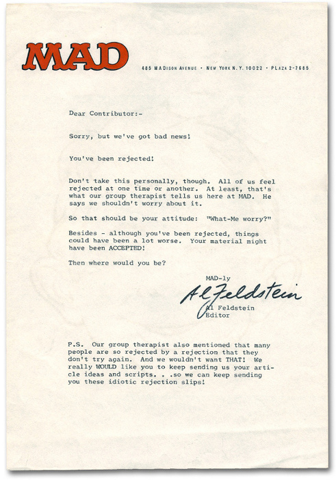 Mad Magazine Rejection Letter